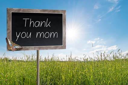 Blank chalkboard on a meadow with text Thank you mom