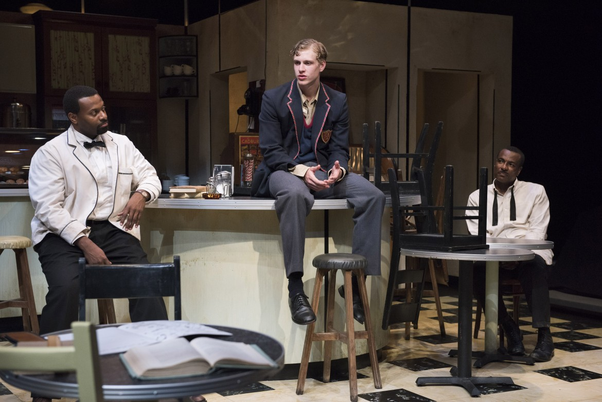 """André Sills as Sam, James Daly as Hally and Allan Louis as Willie in """"Master Harold"""" …and the Boys. Photo by David Cooper."""